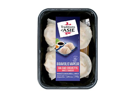 8 Raviolis Vapeur, Ha Cao crevette avec sauce aigre-douce et sauce soja  240gr